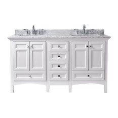 """Luz 60"""" Double Sink Bathroom Vanity, White"""