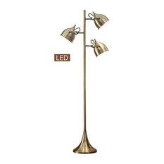 "Caprice 64"" LED Floor Lamp, Antique Satin Brass"