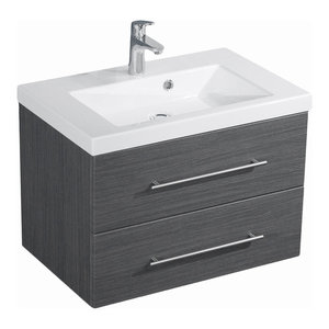 Emotion Infinity 700 Bathroom Furniture, White High-Gloss, 70.4 cm, Grained Anth