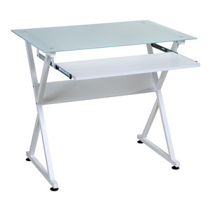 OneSpace Ultramodern Glass Computer Desk, Pull-Out Keyboard Tray, White