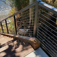 Massive beach stairs with aluminum rail and stainless steel cable