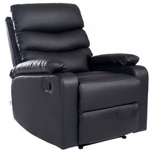 Modern Recliner in Bonded Leather with Padded Seat and Armrest, Black