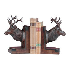 MOUNTAIN Bookends Bookend Rustic Majestic Elk Head Resin Hand-Painted