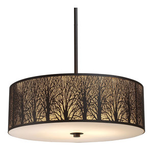 Elk 31075//5 Woodland Sunrise 5-Light Pendant in Aged Bronze