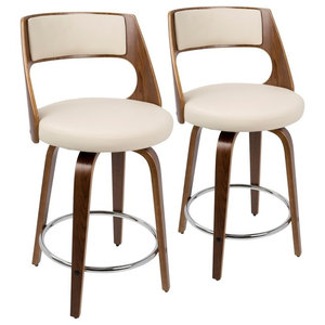 Cecina Modern Counter Stool-Swivel, Walnut & Cream Faux Leather, Set of 2