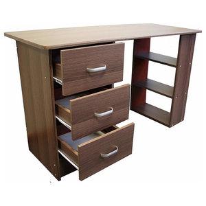Modern Stylish Desk, MDF With 3 Open Shelves and 3 Storage-Drawer, Dark Walnut