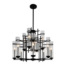 12-Light Chandelier with Black Finish