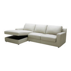 Lauren Light Gray Premium Leather Sectional Sleeper with Storage in Chaise, Left