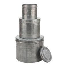 Aged Galvanized Metal Round Storage Boxes, Set Of 3