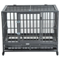 """PawHut 36"""" Heavy Duty Steel Dog Crate Kennel Pet Cage with Wheels - Grey Vein"""