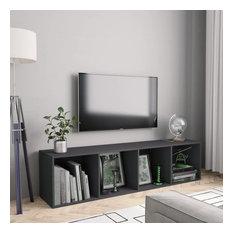 VidaXL Book Cabinet/TV Cabinet Gray Bookshelves Stand Entertainment Center