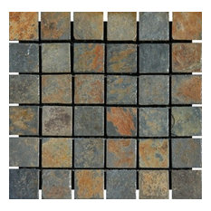 "China Multi Color Tumbled Slate Mosaic Tiles 2"" x 2"""