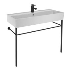 Large Ceramic Console Sink and Matte Black Stand, One Hole