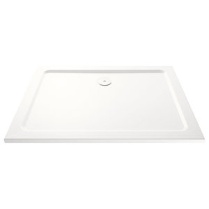 Slimline Shower Tray With Chrome Waste, 1100x760 Mm, Riser Kit Included
