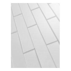 Beveled 2 in. x 8 in. Glass Backsplash Subway Wall Tile, 1 piece
