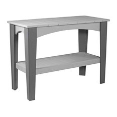 Poly Outdoor Island Buffet Table, Dove Gray/Slate