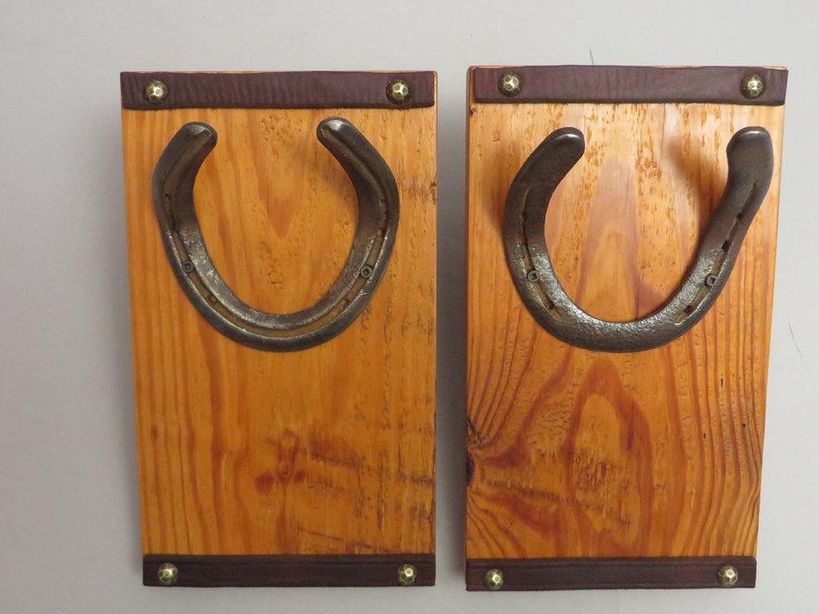HorseShoe Rack. Reclaimed Pine, Shoes & Leather.