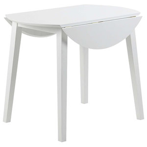 Round Dining Table, Stone White Finished MDF, Modern Drop Leaf Design, 90 Cm