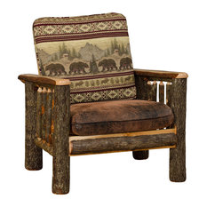 Furniture Barn USA Rustic Hickory Living Room Chair Bear Mt Fabric Armchairs And