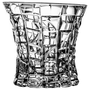 Modern Lead Crystal Whisky Glasses With Faceted Cut, Set of 6