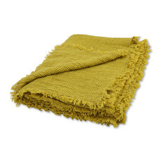 Citrine Linen Washed Waffle Throw