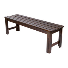 5' Backless Garden Bench, Burnt Brown