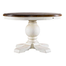 Curations Limited #2201.M 48'' Round Trestle Vintage White Table