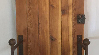 Legacy Collection - Hall Tree, 1830's Log Cabin Door combined with artisan wroug