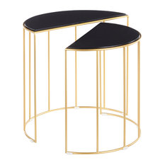 Canary Contemporary Nesting Table Gold With Black Marble