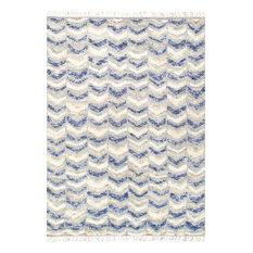 """Pasargad Home Casablanca Moroccan Hand-Knotted Wool Area Rug, Blue,  9'0""""x11'8"""""""