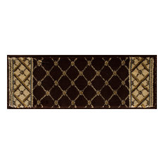 "Interlude Portico Rug, Brown, 9"" X 26"" Stair Tread"