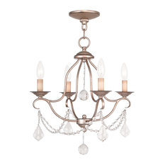 Livex Lighting 4-Light Hand Painted Antique Silver Leaf Mini Chandelier