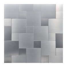 "12""X12"" Peel and Stick Wall Tile, Puzzle Metal Square, Monochrome, Set of 10"