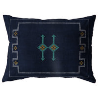 SILK NAVY Indoor|Outdoor Lumbar Pillow By Becky Bailey