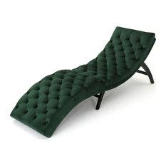 GDF Studio Grasby Tufted New Velvet Chaise Lounge, Emerald