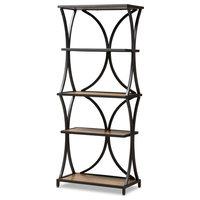 Rustic Industrial-Style Oak Brown Finished Wood, Black Finished Metal Bookshelf