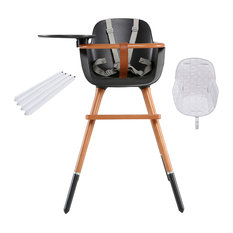 Ovo City Anthracite High Chair With Seat Pad, Grey Stars, White Extensions
