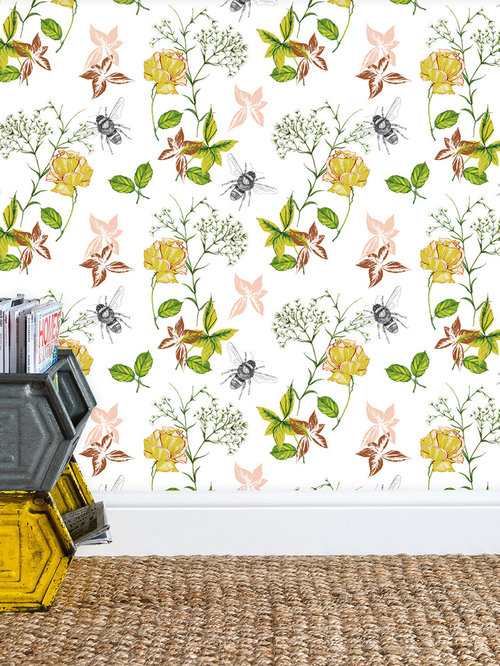 Flora & Fauna  White Wallpaper - Wall Decor