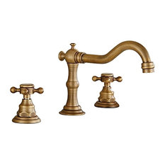 Deck Mounted 3-Hole Double Handle Widespread Bathroom Faucet, Antique Brass