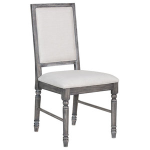 Side Chair Set Of In Light Cream Linen Weathered Gray Linen Rubber Wood