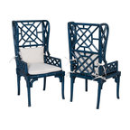 Bamboo Wing Back Chairs Set Of 2 Farmhouse Armchairs