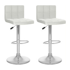 CorLiving Adjustable Mid Back Tufted White Faux Leather Barstool - Set of 2