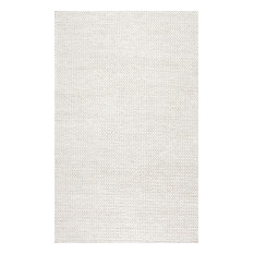 nuLOOM Braided Wool Hand Woven Chunky Cable Rug, Off White, 9'x12'