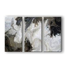 High Gloss Resin Painting - 3 piece Abstract Painting - Modern Canvas Wall Art