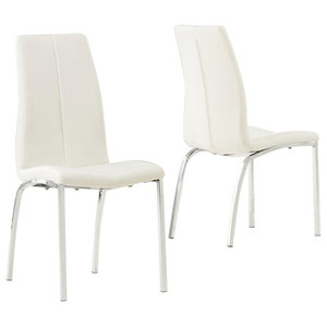 Carsen Dining Chairs, Ivory Faux Leather, Set of 2