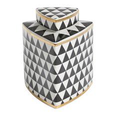 "Sagebrook Home Black/White Checkered Triangle Jar 7"""