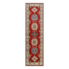 Red & Ivory Geometric 3'x10' Super Kazak Runner Hand Knotted Wool Area Rug