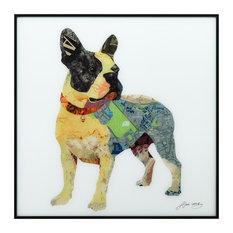 """Boston Terrier"" Reverse Printed Art Framed With Black Anodized Aluminum"