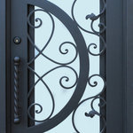 Ville Doors - Glass Wrought Iron Door 36 x 80, Right Hand Inswing - Material:  Forged Wrought Iron