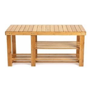 Traditional Sytlish Shoe Rack Bench, Natural Bamboo Wood